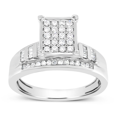 Diamond Engagement Ring .50 CTW Round Cut w/ Baguettes 10K White Gold
