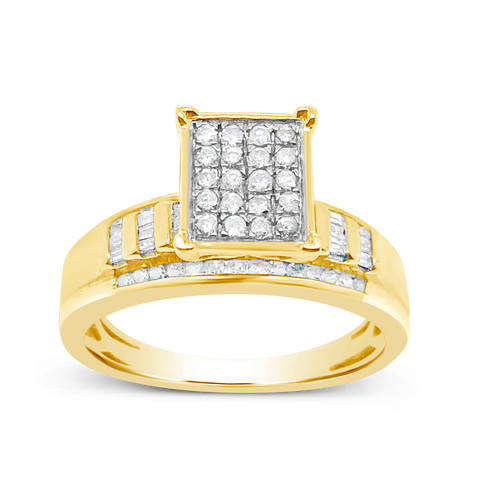 Diamond Ring .50 CTW Round Cut w/ Baguettes 10K Yellow Gold