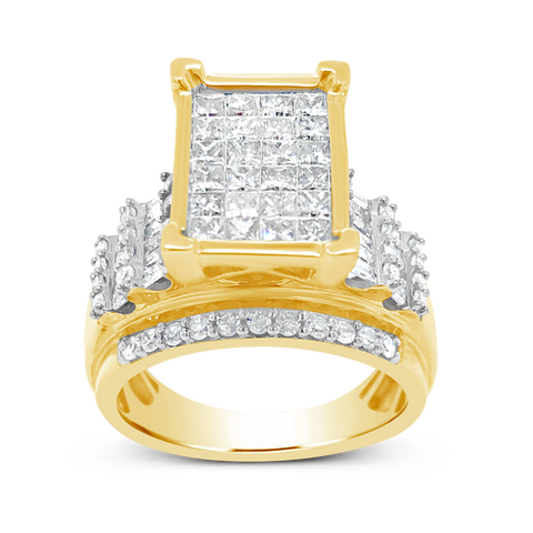 Diamond Engagement Ring 2 CTW Princess & Round Cut w/ Baguettes 10K Yellow Gold
