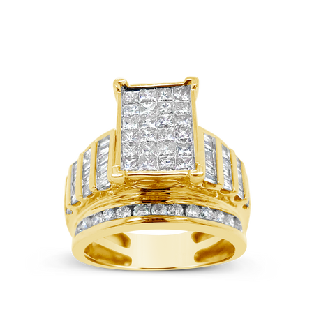 Diamond Ring 2CT tw Princess Cut w/ Baguettes & Round Cut 10K Yellow Gold