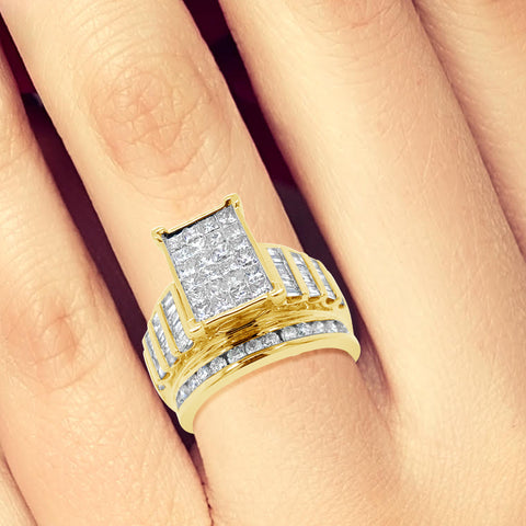 Diamond Ring 2 CTW Princess Cut w/ Baguettes & Round Cut 10K Yellow Gold