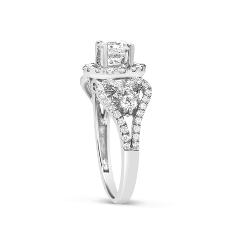 Diamond Halo Engagement Ring 1.70 CTW Round Cut 18K White Gold