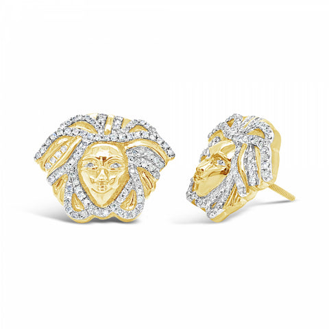 10K Yellow Gold .50ct Diamond Medusa Earrings w/ Diamonds