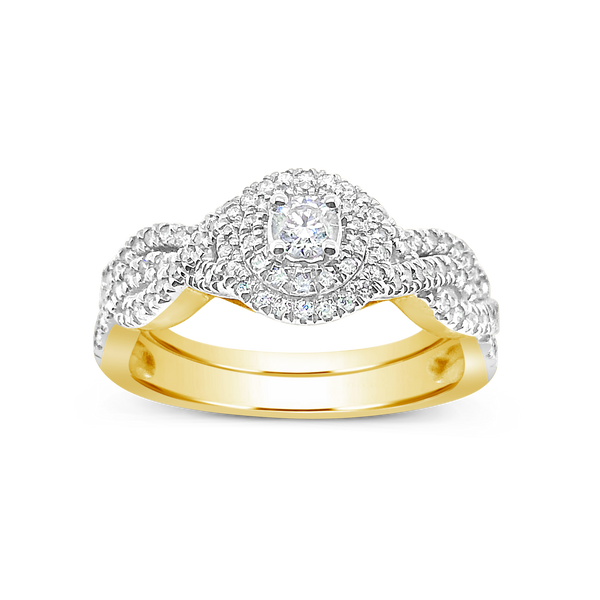Infinity Diamond Engagement Ring .50CT tw Round Cut 14K Yellow Gold