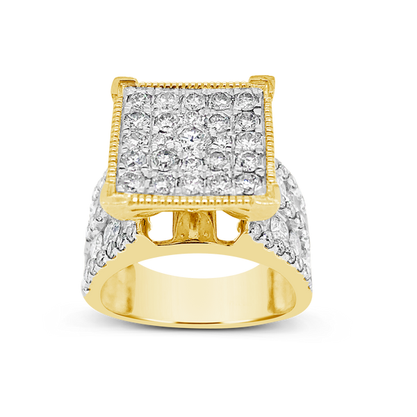 Diamond Halo Ring 3CT tw Round Cut 10K Yellow Gold