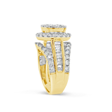 Diamond Halo Ring 1.50CT tw Round Cut 14K Yellow Gold