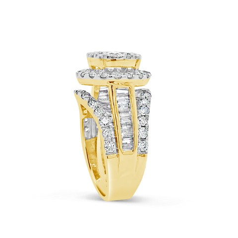 Diamond Halo Ring 1.50 CTW Round Cut 14K Yellow Gold