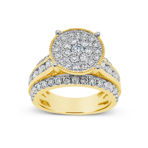 Diamond Halo Engagement Ring 2 CTW Round Cut 10K Yellow Gold