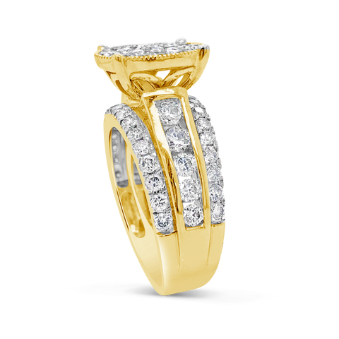 Diamond Halo Engagement Ring 2CT tw Round Cut 10K Yellow Gold