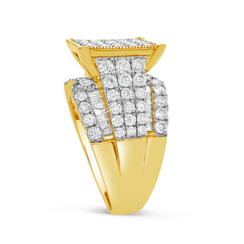 Diamond Ring 3 CTW Round Cut w/ Baguettes 10K Yellow Gold
