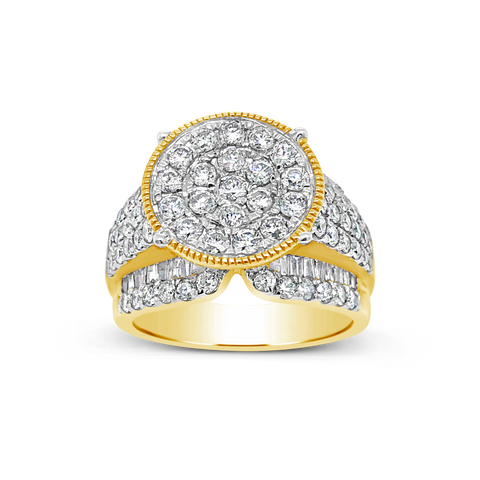 Diamond Halo Ring 2 CTW Round Cut w/ Baguettes 10K Yellow Gold
