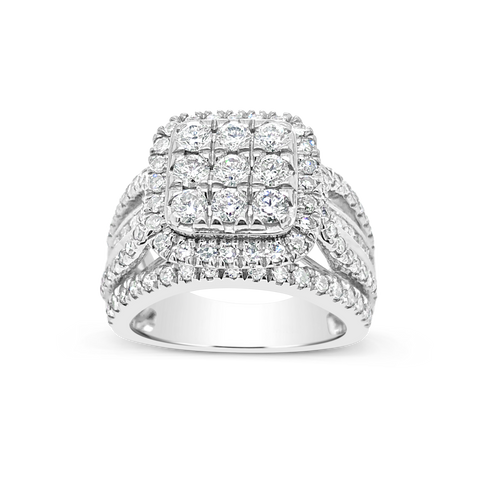 Diamond Halo Ring 2CT tw Round Cut 14K White Gold
