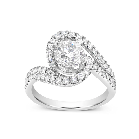 Diamond Halo Engagement Ring 1.55 CTW Round Cut 14K White Gold
