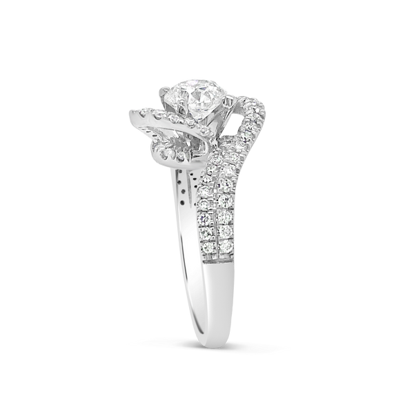 Diamond Halo Engagement Ring 1.55CT tw Round Cut 14K White Gold