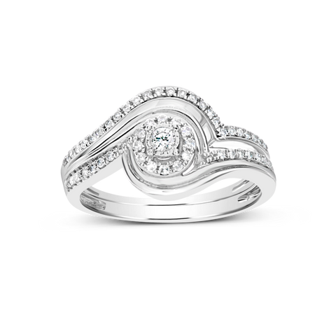 Diamond Halo Engagement Ring .25CT tw Round Cut 10K White Gold