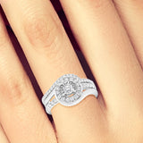 Diamond Halo Engagement Ring .65CT tw Round Cut 14K White Gold