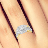 Diamond Halo Engagement Ring 1CT tw Round Cut 14K Yellow Gold