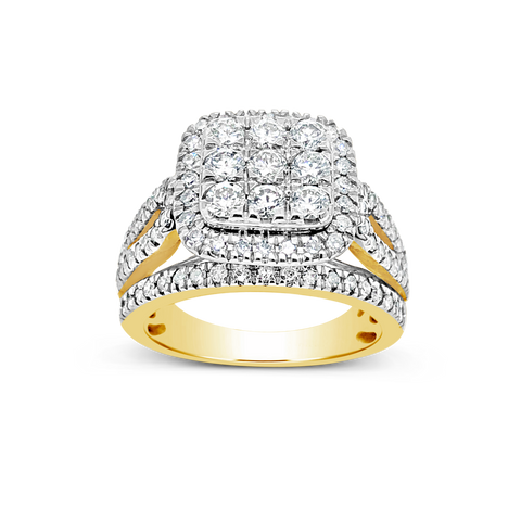 Diamond Halo Ring 2CT tw Round Cut 14K Yellow Gold