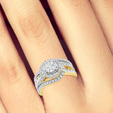 Diamond Halo Engagement Ring 1CT tw 14K Round Cut Yellow Gold