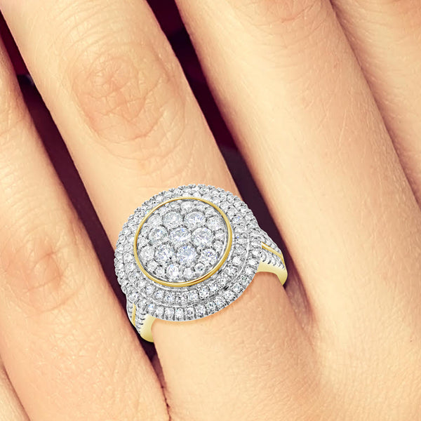 Diamond Halo Ring 1.50 CTW Round Cut 10K Yellow Gold