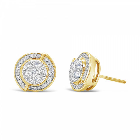 10K Yellow Gold .33ct Diamond Circle Earrings