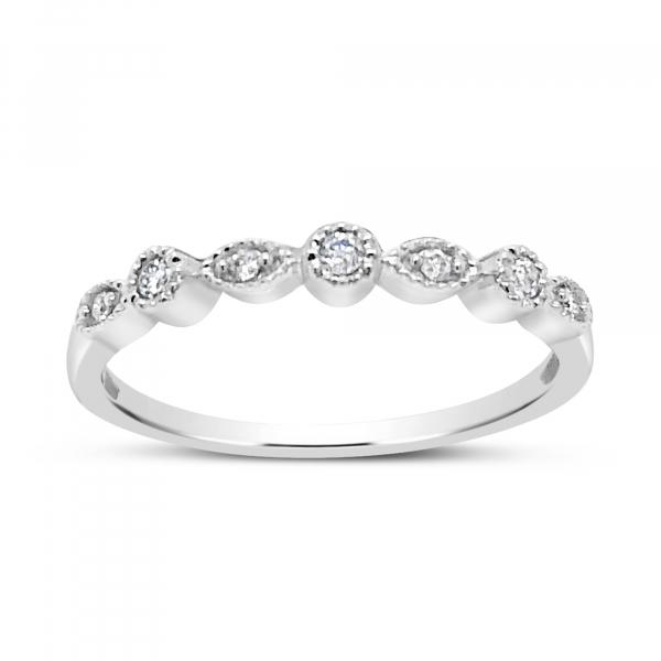 Diamond Band .08CT tw Round Cut 14K White Gold
