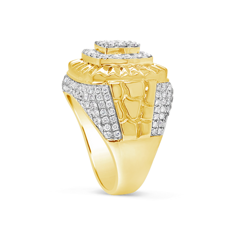 Rolex Diamond Nugget Ring 2.50 CTW Round Cut 10K Yellow Gold