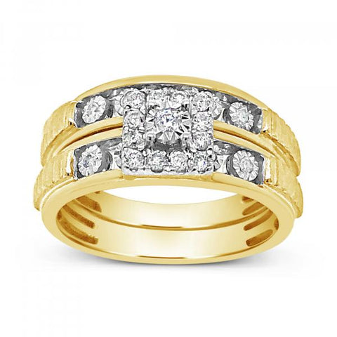 Diamond Trio Set .25CT tw Round Cut 10K Yellow Gold