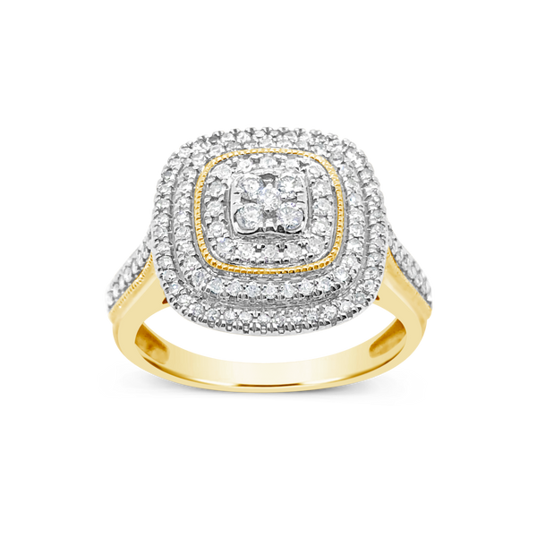 Diamond Halo Engagement Ring .50 CTW Round Cut 10K Yellow Gold