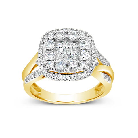 Diamond Halo Ring 1CT tw Princess Cut w/Round Cut 14K Yellow Gold