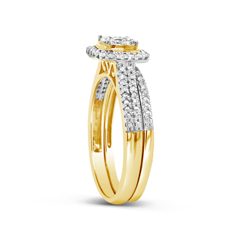 Diamond Halo Engagement Ring .33 CTW Round Cut 10K Yellow Gold