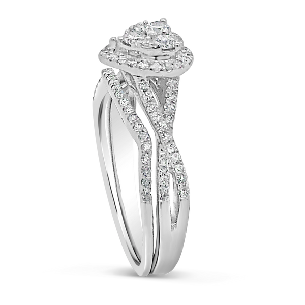 Diamond Heart Halo Engagement Ring .50 CTW Round Cut 10K White Gold
