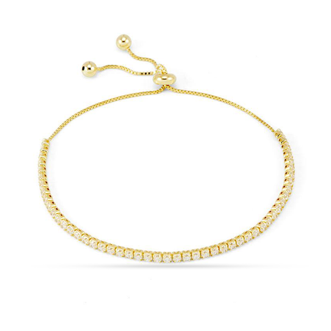 10K Yellow Gold Women's Tennis Bracelet With 0.25CT Diamonds