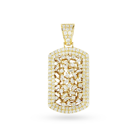 10K Yellow Gold DogTag Pendant With 2.92 CT Diamonds