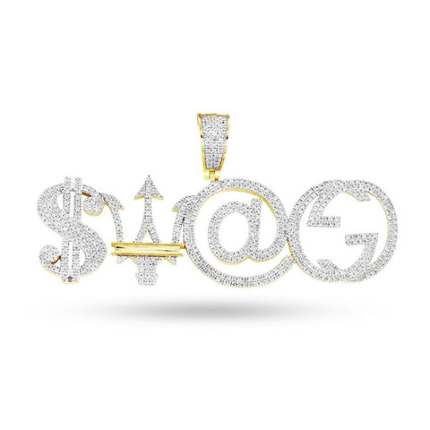 10K Yellow Gold SWAG Pendant With 1.45CT Diamonds