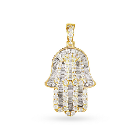 10k Yellow Gold Hamza Pendant With 2.69CT Diamonds