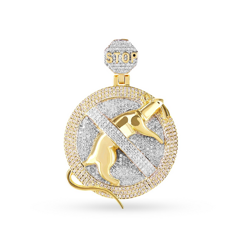 10K Yellow Gold Custom Pendant with 1.85CT Diamonds