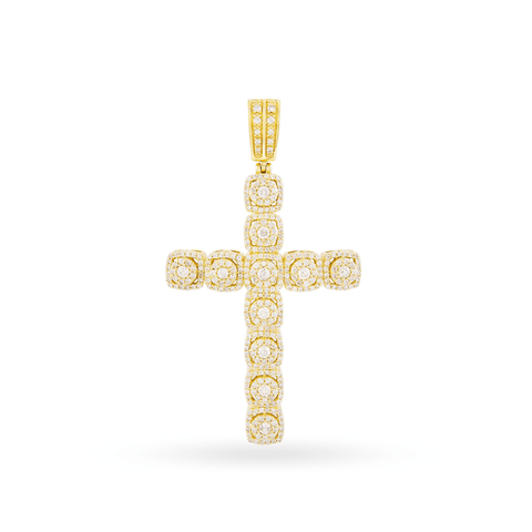 10k Yellow Gold Cross Pendant With1.85CT Diamonds