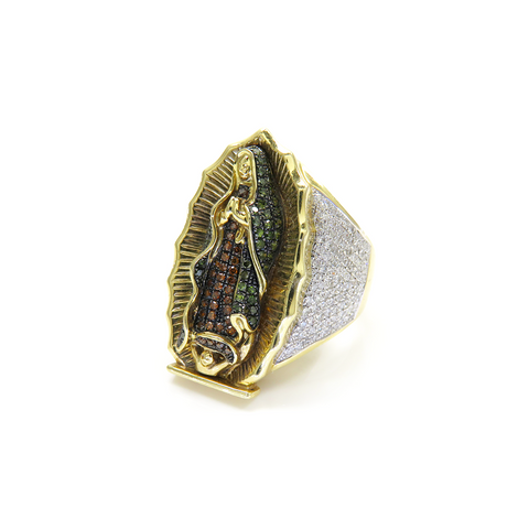 10K Yellow Gold Virgin Mary Pendant with 2.50CT Diamonds
