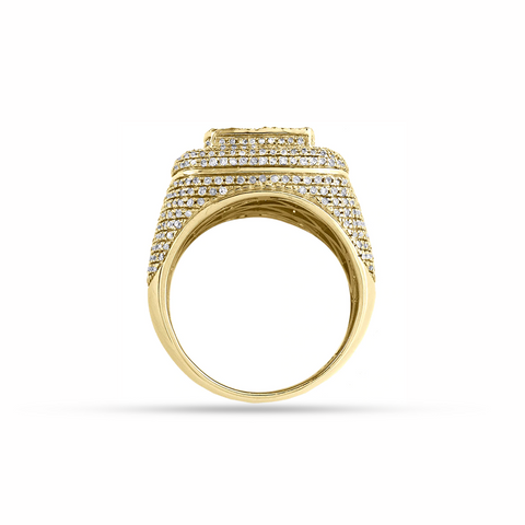 DIAMOND MENS RING 5.00 CT BAGUETTE 14K YELLOW GOLD