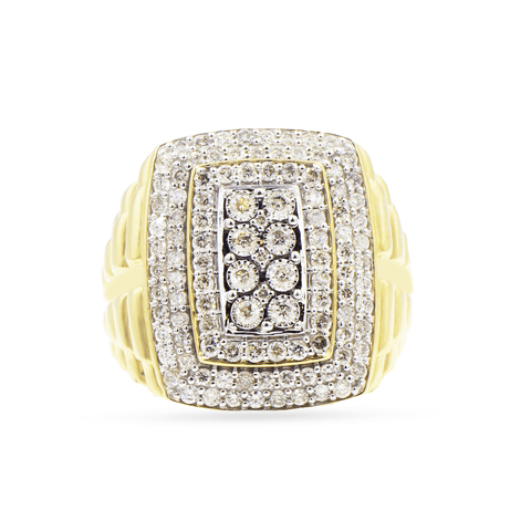 10K Yellow Gold Men's Ring with 1.50CT Diamonds