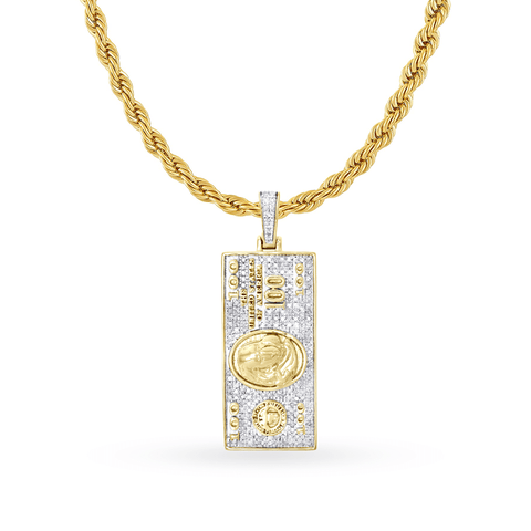 10K Yellow Gold $100 Bill Pendant With 1.00CT Diamonds