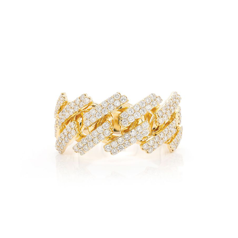 10K Yellow Gold Men's Cuban Ring With 2.65CT Diamonds