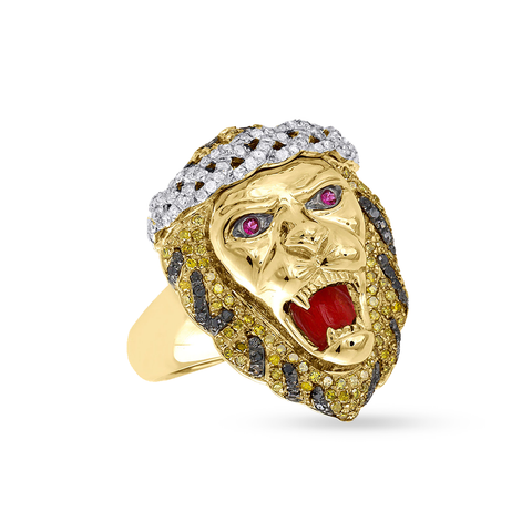10K Yellow Gold Men's Ring With 1.23CT Diamonds