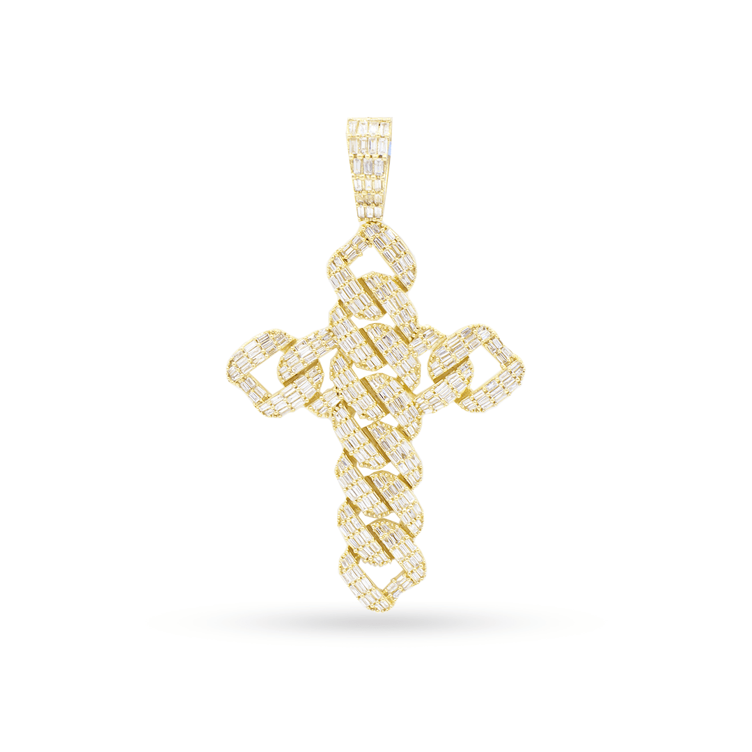 10K Yellow Gold Cross Pendant With 3.15CT Diamonds
