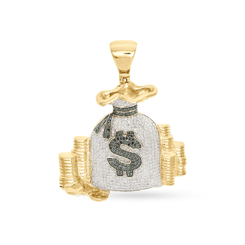 10k Yellow Gold Money Bag Pendant With 2.24CT Diamond