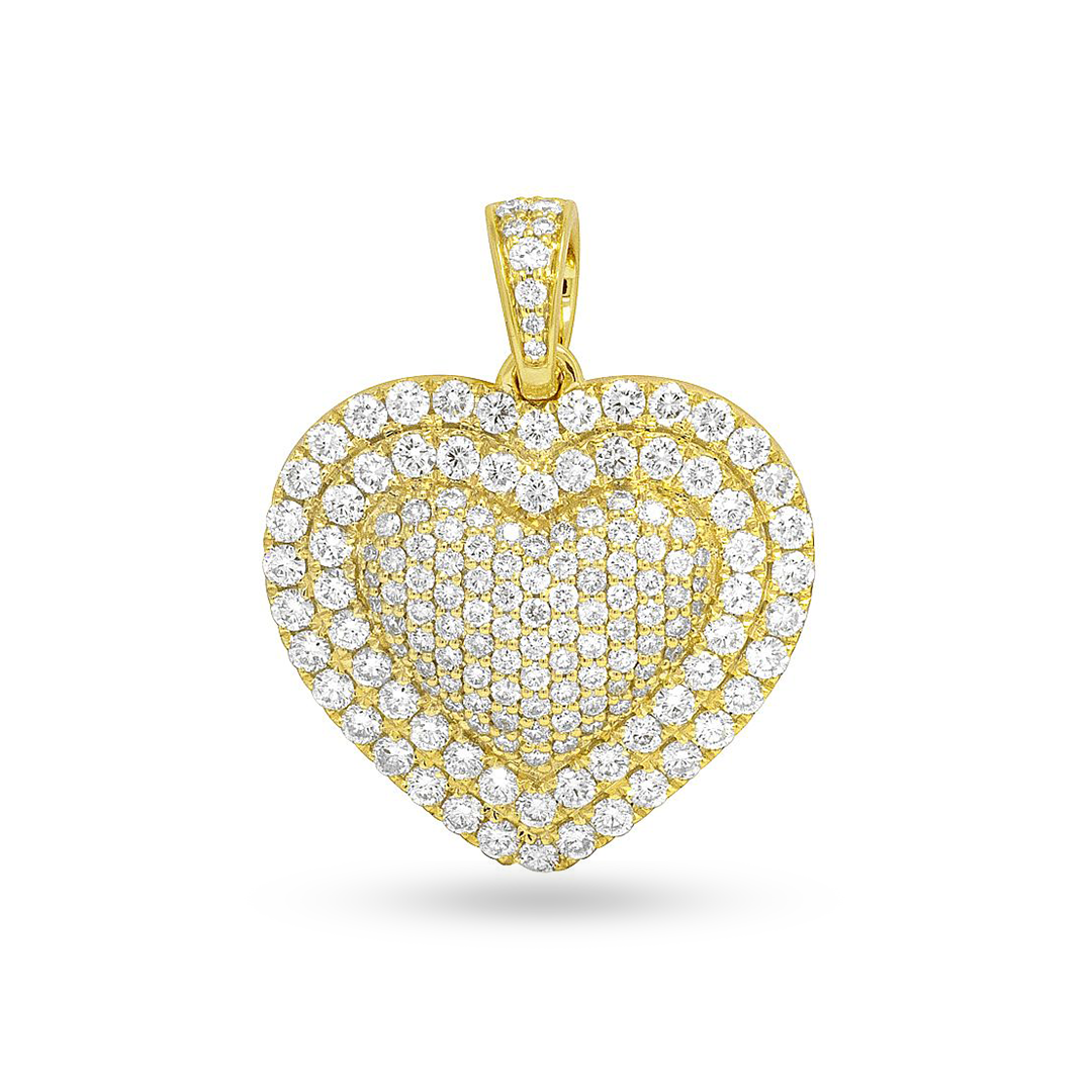 10K Yellow Gold Heart Pendant With 2.00CT Diamonds