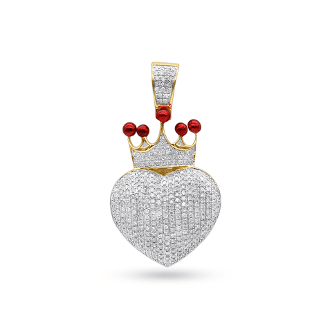 10K Yellow Gold Heart Pendant With 0.75 CT Diamonds