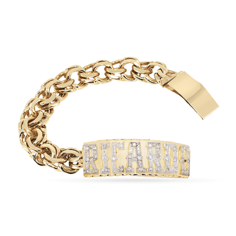 10K Yellow Gold Custom Name/Id Bracelet with Diamond letters