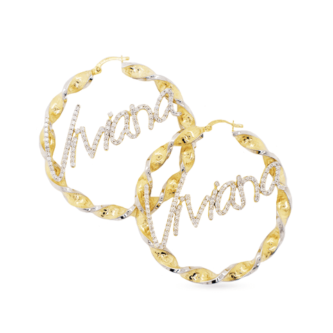 10K Yellow Gold Custom Personalized hoops with 2.62CT Diamond Name Plate